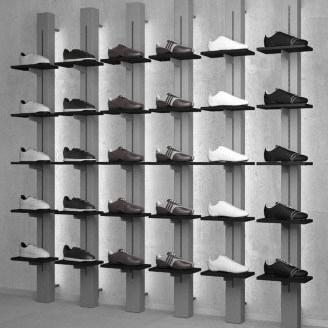 Wandstaanders Linea 3 voor schoenenpresentatie